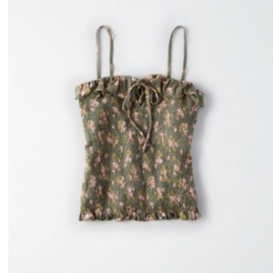 AE Precious Crop Smocked Olive Green Floral Tank
